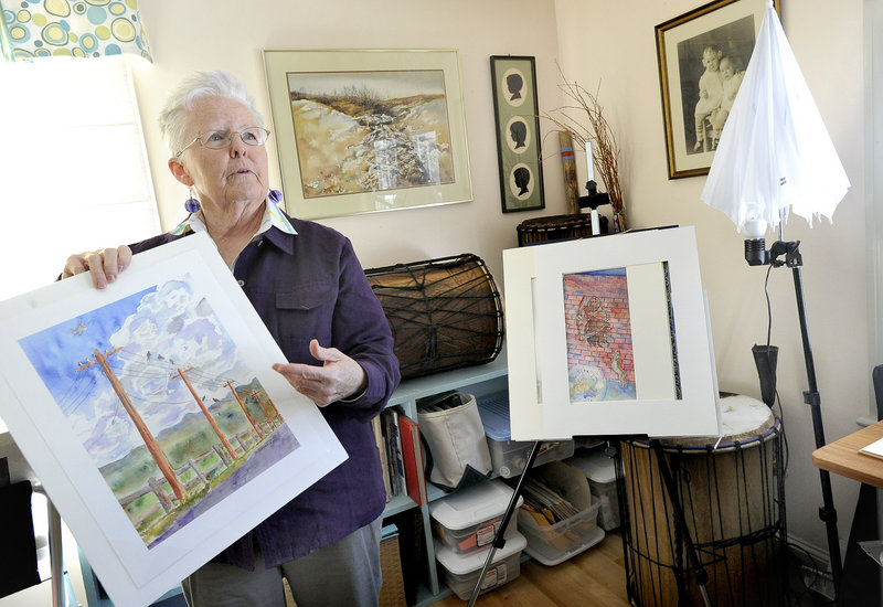 "Donna Beveridge holds one of her many paintings, called ""News Travels,"" at her home studio. Beveridge is one of more than 30,000 people in Maine with Alzheimer s disease."