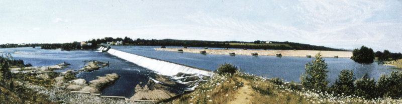 """The Dam at Fairfield,"" 1974, 47 inches by 13 inches, oil on canvas"