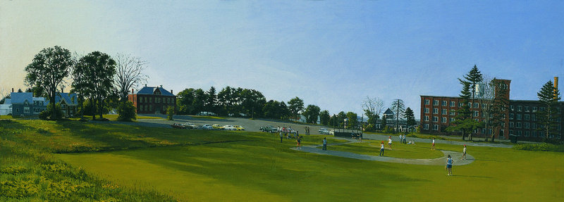 """Softball Practice, Skowhegan,"" 1975, 41 inches by 14 inches, oil on canvas"