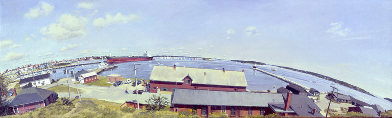 """The Harbor from Spring Point, Mobilita Discharging,"" 1983, 60 inches by 18 inches, oil on canvas"