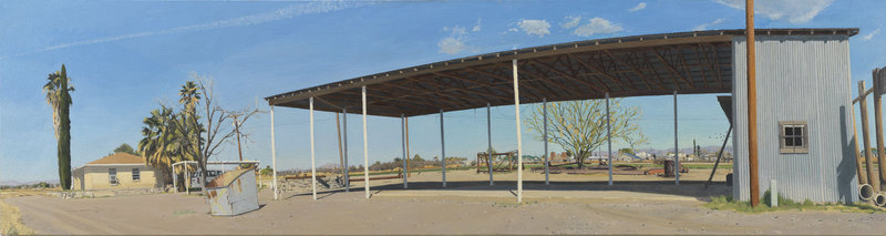 """Farm Buildings Near the Rio Grande: South Side of the Barn, A.M.,"" 2008, 90 inches by 24 inches, oil on canvas"