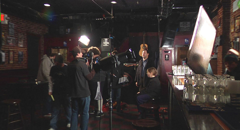 """A set scene from """"2Grand,"""" which was shot in Maine and New Hampshire, and which Donnie Hiltz hopes to enter in film festivals."""