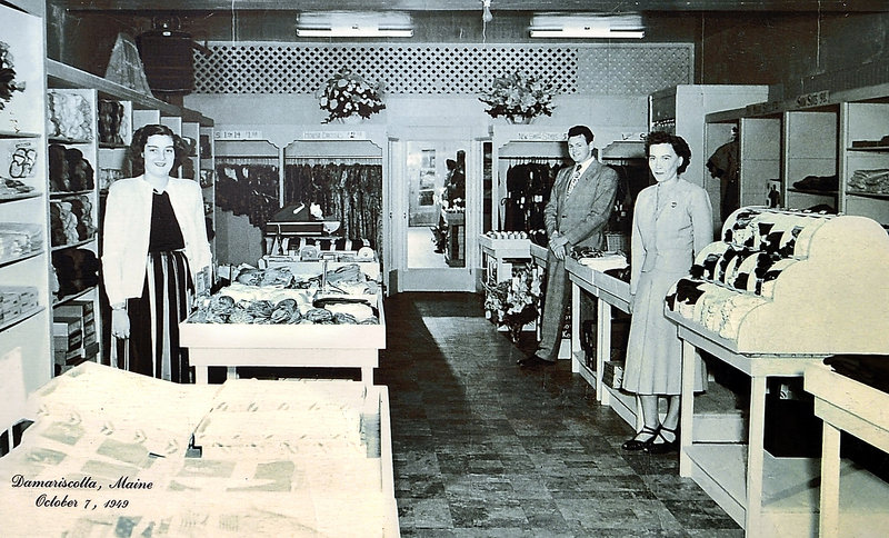 This Oct. 7, 1949, photo shows founder Robert H. Reny standing with staff members at his first store in Damariscotta.