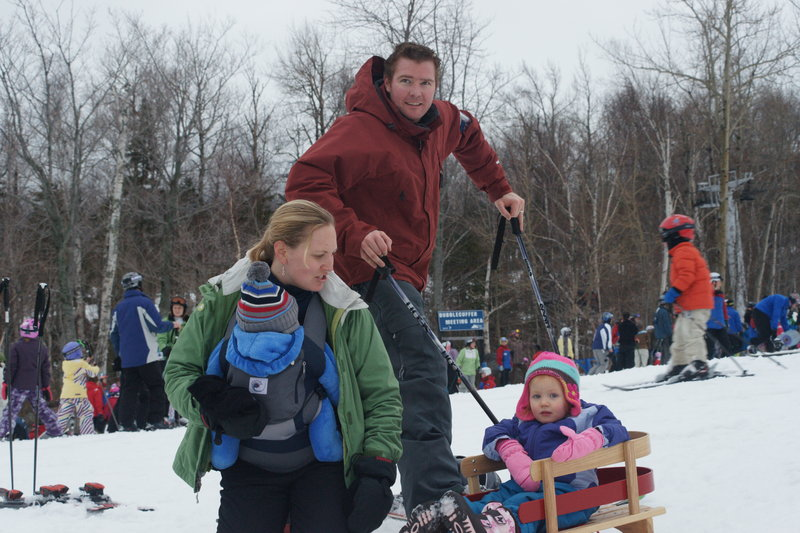 Lynn and Steve Harder of Falmouth, with their daughter, Reese, 2, and 4-month-old son, Ryan, say last week's derailment of a chairlift at Sugarloaf won't keep them away.