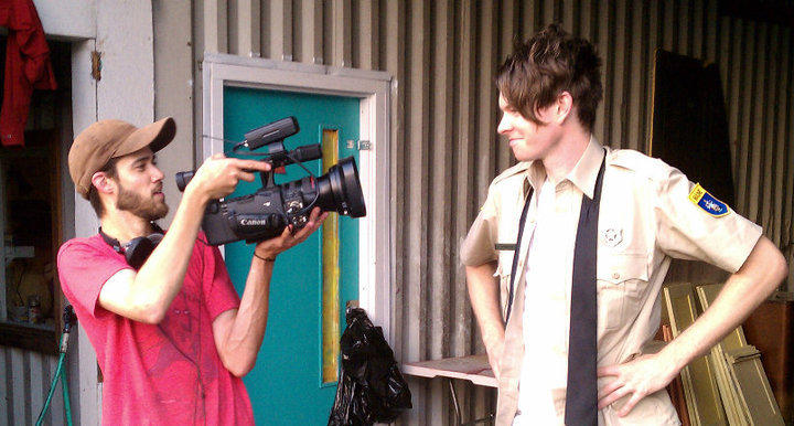 "Barry Dodd and Erik Moody behind the scenes during shooting for ""Ragged Isle."""