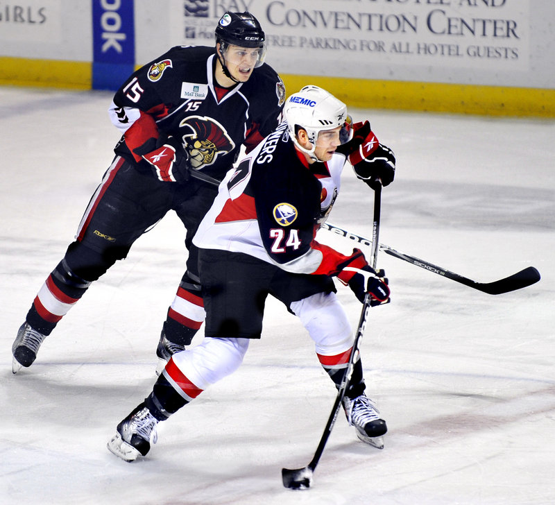 Justin Bowers is making the most of his second promotion to the Portland Pirates this season from the ECHL, contributing two goals and three assists in six games.