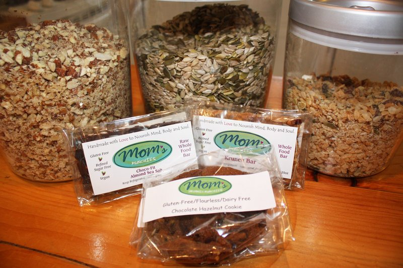 The Mom's Organic Munchies line includes Choco-Fit Almond Sea Salt Bars, Krunch Bars and Chocolate Hazelnut Cookies, which are all made from ground-up nuts and seeds.