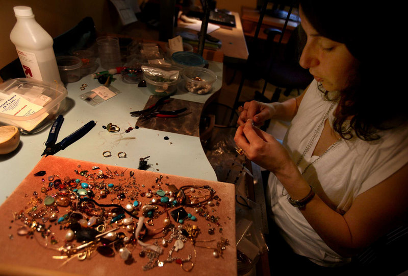 Custom jewelry maker Valerie Kronburg of Pasadena, Calif., sells her creations through Etsy.
