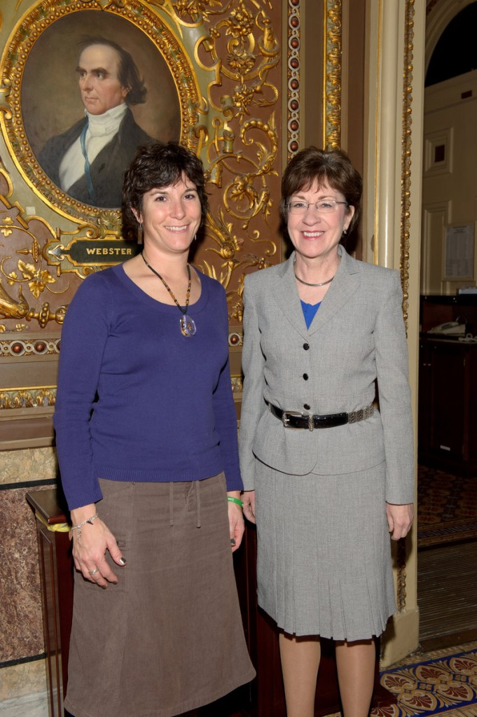 Teacher Angela Gospodarek, left, meets with U.S. Sen. Susan Collins.