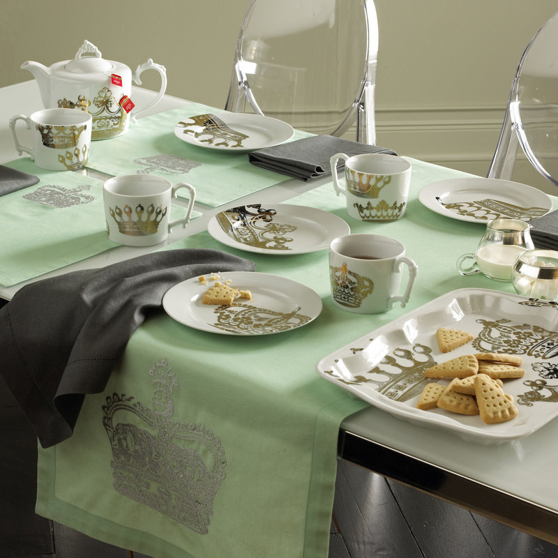Bliss Living Home's Victoria table linens and British-inspired tea set. Paris has been dear to home decorators for years, but now it seems to be London's turn.