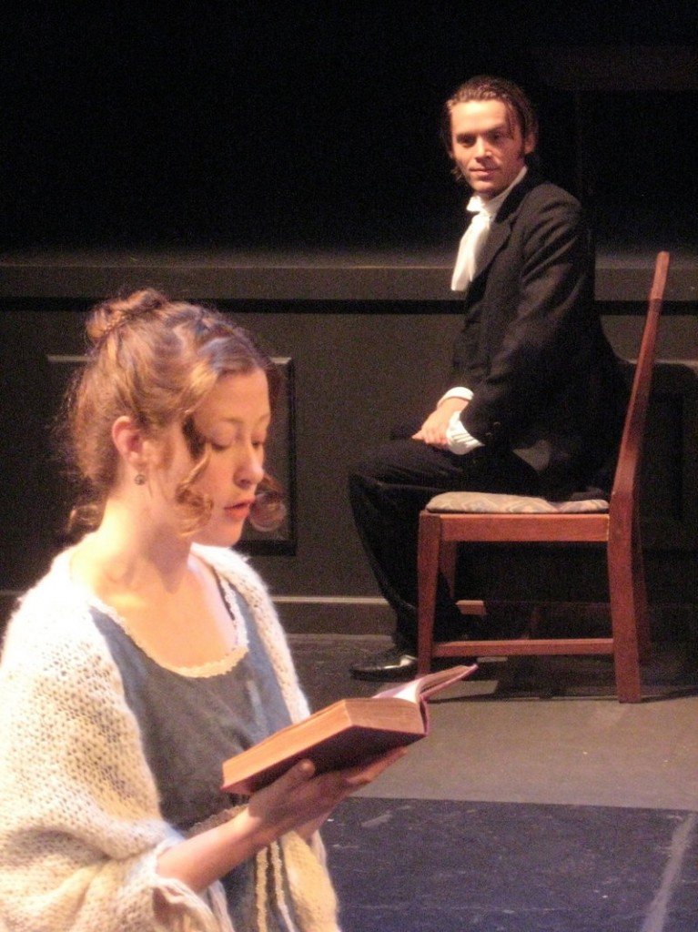 Liz Chambers is Miss Elizabeth Bennet and Ian Carlsen is Mr. Darcy in The Theater Project production of