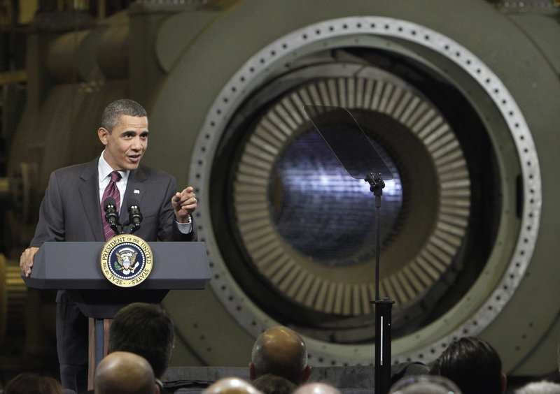 President Obama delivers remarks at the General Electric plant in Schenectady, N.Y., on Friday. Obama traveled to the birthplace of the General Electric Co., to showcase a new GE deal with India and announce a restructured presidential advisory board to focus on increasing employment and competitiveness.