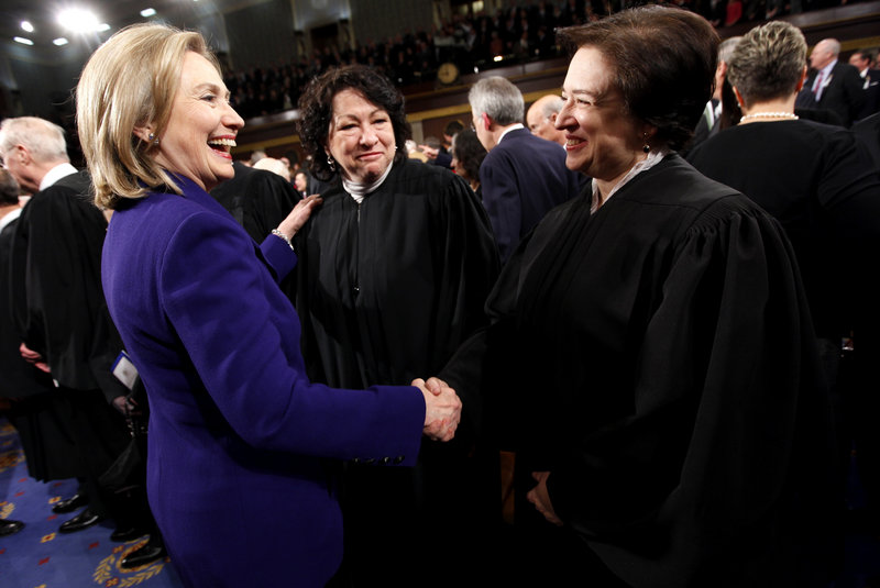 Secretary of State Hillary Rodham Clinton greets U.S. Supreme Court Justices Elana Kagan, right, and Sonia Sotomayor before President Obama's State of the Union address, which all of the justices traditionally attend.