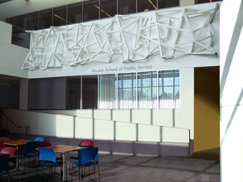 """Mark Wethli's """"Civitas,"""" shown here in an artist's rendering, will hang above the entrance to the Muskie School of Public Service at USM's Wishcamper Center."""