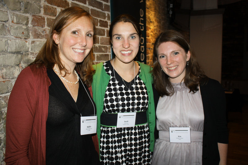 Young Emerging Leaders graduates Kaitlin Hammersley of L.L. Bean, Sarah Paul of Bowdoin and Kim Wallace of Unum.