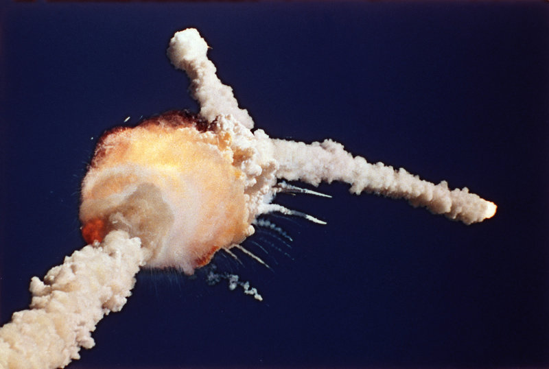 The space shuttle Challenger explodes 73 seconds after lifting off from the Kennedy Space Center in Cape Canaveral, Fla., on Jan. 28, 1986.