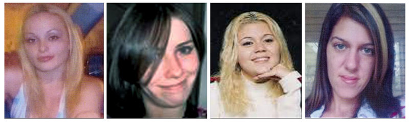 Photos provided by police in Suffolk County, N.Y., show, from left, Melissa Barthelemy of New York's Erie County; Maureen Brainard-Barnes of Norwich, Conn.; Megan Waterman of Scarborough, Maine; and Amber Lynn Costello of North Babylon, N.Y. Their bodies were found last month along a deserted stretch of beach highway. Serial killers throughout history have preyed on prostitutes, from Jack the Ripper in the 1880s to the Green River Killer in the 1980s and '90s.