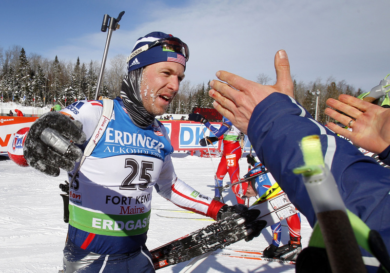 Lowell Bailey accepts congratulations after finishing in ninth place in the men's 15 kilometer mass start race at the Biathlon World Cup today.
