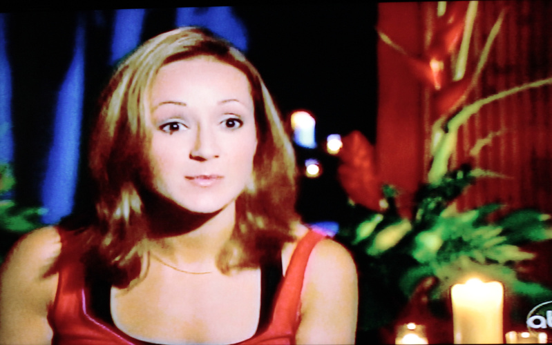 "Ashley Hebert is shown in a television image speaking on Monday's episode of ""The Bachelor."""