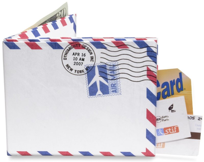 A Tyvek envelope can be cut and folded to create a sturdy, lightweight wallet like this one sold online by Dynomighty.