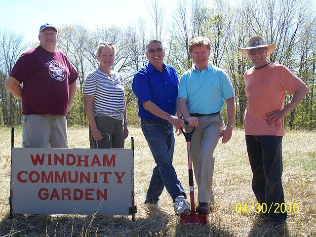 A chili cook-off fundraiser for the Windham Community Garden takes place Saturday. Breaking ground for the garden last year are, from left, Rob Juergens, Marge Govoni, Rep. Gary Plummer, Sen. Bill Diamond and Paul Tringali.