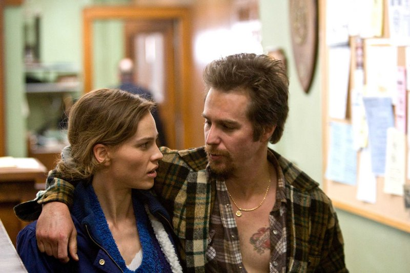 """Hilary Swank and Sam Rockwell star as siblings trying to prove Rockwell's character's innocence on murder charges in """"Conviction."""""""