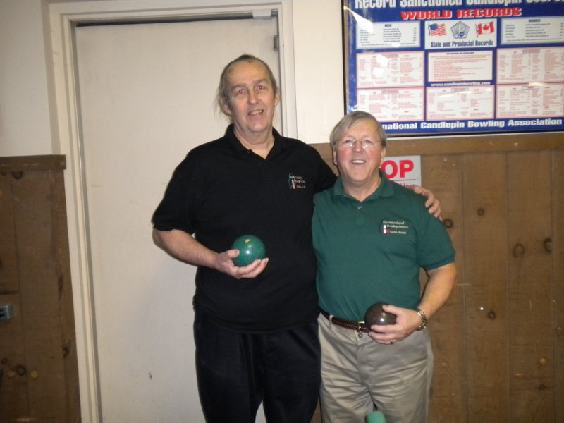 Don Saucier, left, and Bert Dube won the men's division at the Maine State Candlepin Bowling Association senior doubles tournament. Saucier and Dube had a combined handicap score of 1,432, based on five strings each.