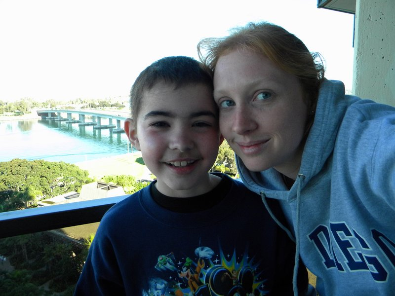 Cody Buzzell and his mother, Jessica, enjoy a moment in California during a Make-a-Wish trip in October.