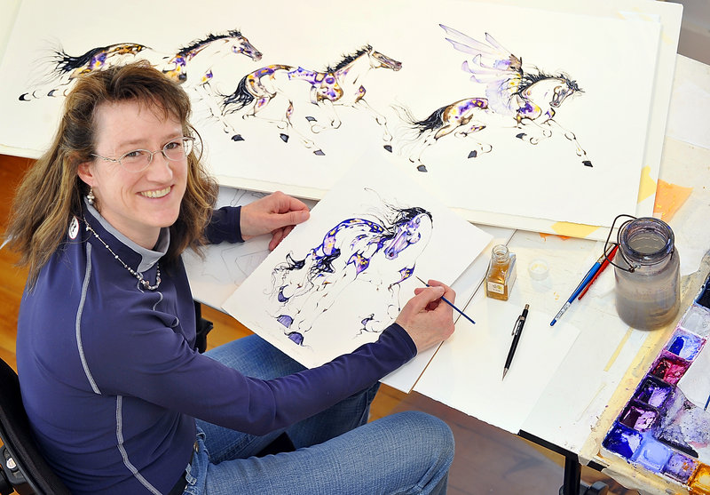 Sarah Lynn Richards, who specializes in equestrian art, in her Bristol studio. Richards was selected as the official artist of the Kentucky Derby.