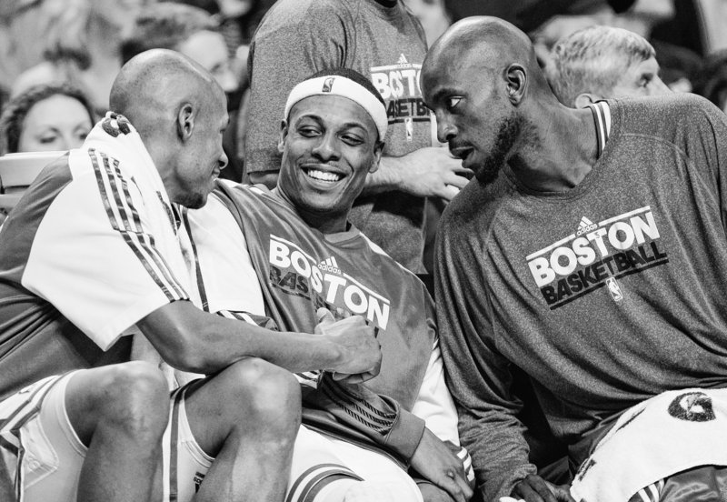 Four Celtics, including, from left, Ray Allen, Paul Pierce and Kevin Garnett, along with Rajon Rondo, not pictured, were selected by coaches as reserves on the Eastern Conference All-Star team. It was the record-tying 14th straight selection for Garnett.