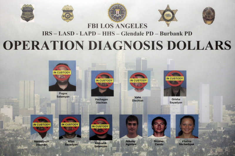 This composite photo released by the FBI on Oct. 13, 2010, shows 10 suspects indicted in Los Angeles as part of an FBI investigation, dubbed Operation Diagnosis Dollars, which targeted the largest Medicare fraud ring by one criminal enterprise in the program's history.