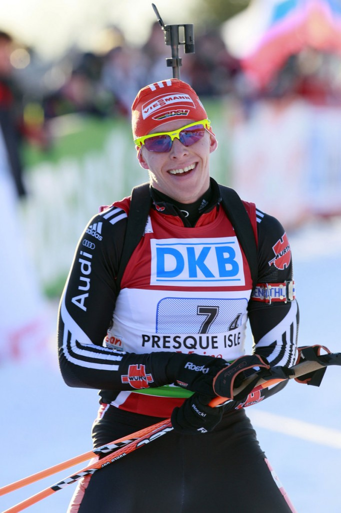 Germany's Daniel Bohm relaxes after crossing the finish line Saturday to win the mixed relay race at the Biathlon World Cup in Presque Isle. The U.S. team placed seventh.