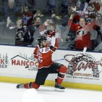 Portland's Mark Mancari celebrates his short-handed goal in the first period Saturday night at the Cumberland County Civic Center. Mancari, the AHL's leading goal scorer, collected his 28th of the season.