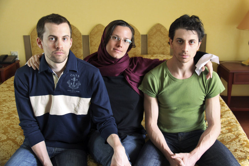American hikers Shane Bauer, left, Sarah Shourd, center, and Josh Fattal, shown at the Esteghlal Hotel in Tehran, Iran, could face 10 years in prison if convicted of espionage. They were detained in July 2009 along the Iraqi border.