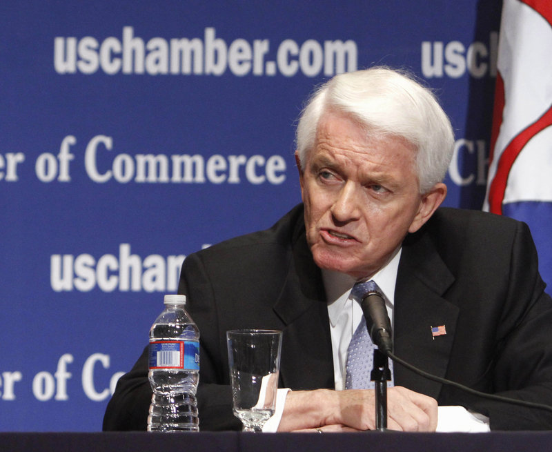 Thomas J. Donohue, president and CEO of the U.S. Chamber of Commerce, opposes the health care law and greenhouse gas limits.