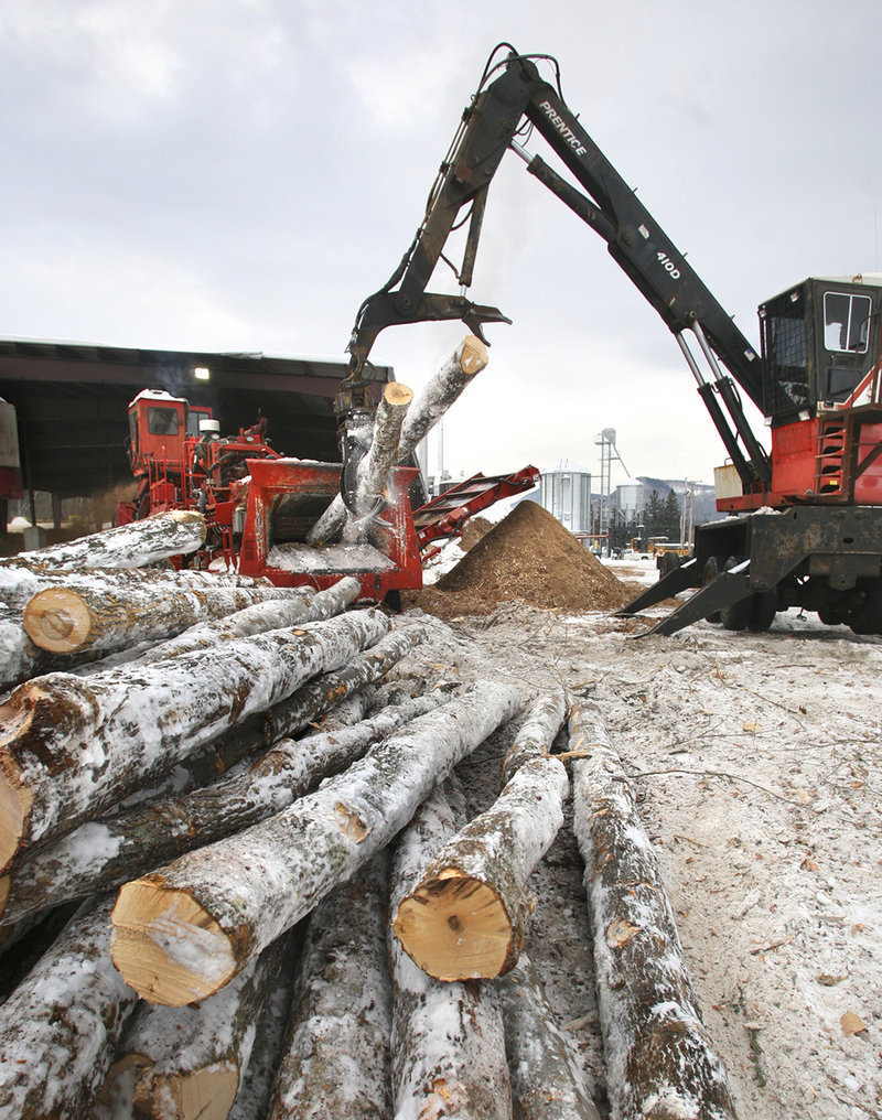 "A crane loads logs into a debarker at the Geneva Wood Fuels pellet plant in Strong, formerly the ""toothpick capital of the world."""