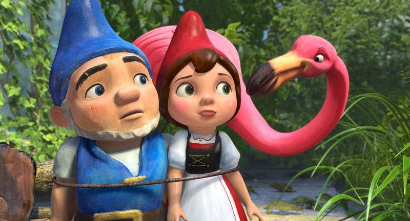 "Gnomeo (voiced by James McAvoy), Juliet (voiced by Emily Blunt) and Featherstone (voiced by Jim Cummings) in ""Gnomeo and Juliet."""