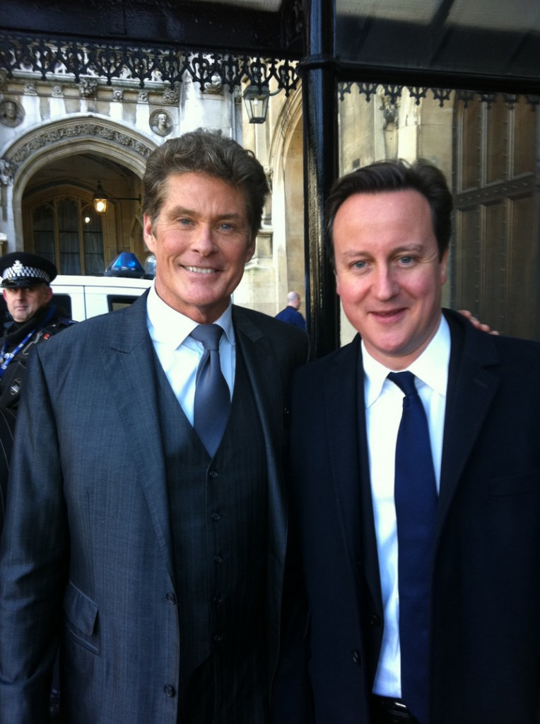 David Hasselhoff, left, and British Prime Minister David Cameron.