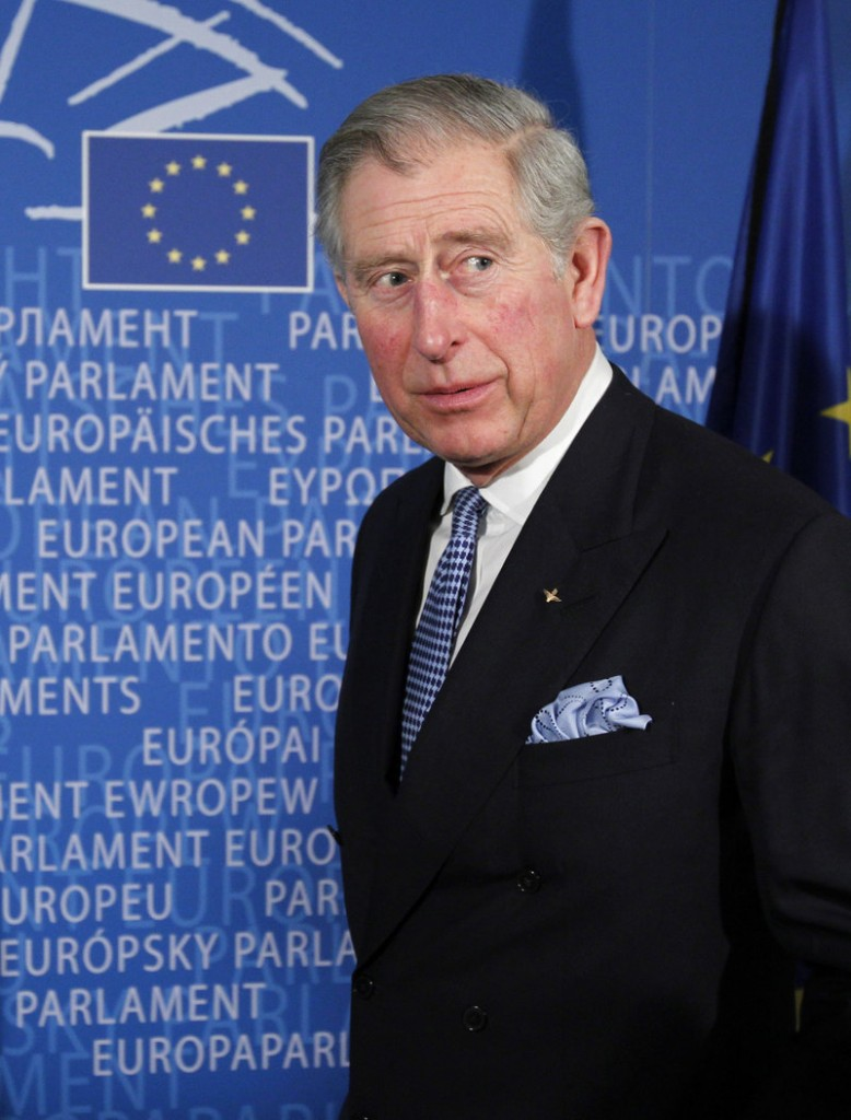Britain's Prince Charles is welcomed to the European Parliament in Brussels on Wednesday, where he lashed out at those who doubt the evidence of climate change.