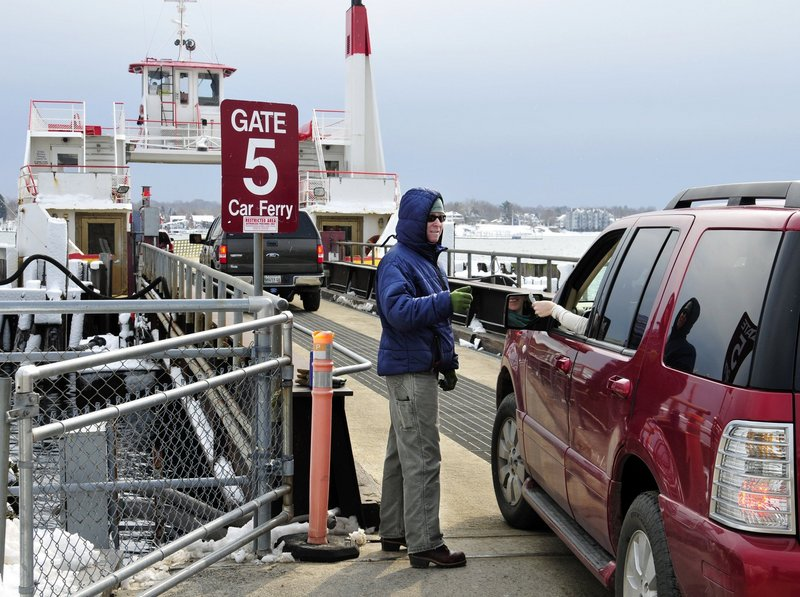 Cars wait for the Casco Bay ferry that will take them to Peaks and other Portland islands. Should the same journey end in another town?