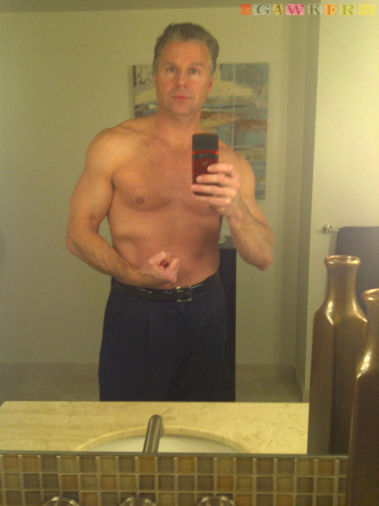 Photo provided by Gawker shows Rep. Christopher Lee posing shirtless in front of a mirror. Lee, a married two-term Republican, abruptly resigned his seat Wednesday.