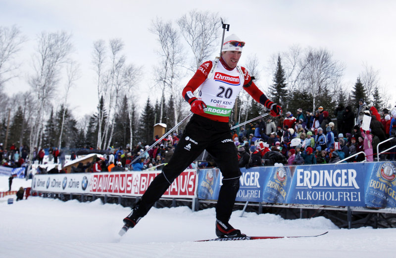 Emil Hegle Svendsen of Norway won the men's 10-kilometer sprint at the World Cup biathlon Thursday at Fort Kent despite a penalty for missing one target.