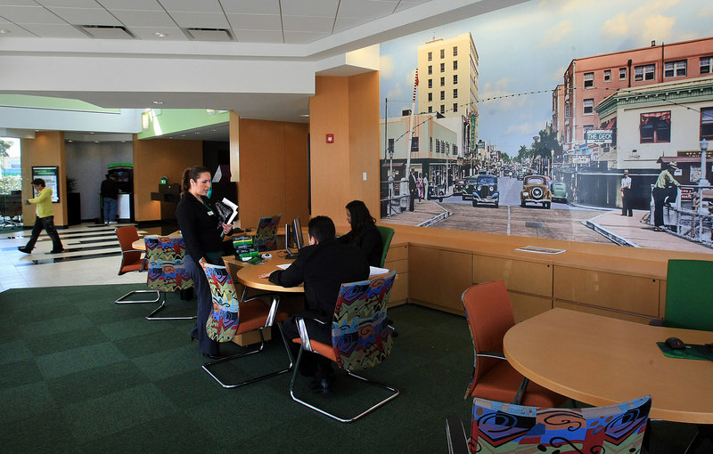 The TD Bank on East Sunrise Boulevard in Fort Lauderdale, Fla., has a historical wall mural of downtown Fort Lauderdale from 1939. The bank also features a Penny Arcade, where customers can bring in coins and have them counted for free.