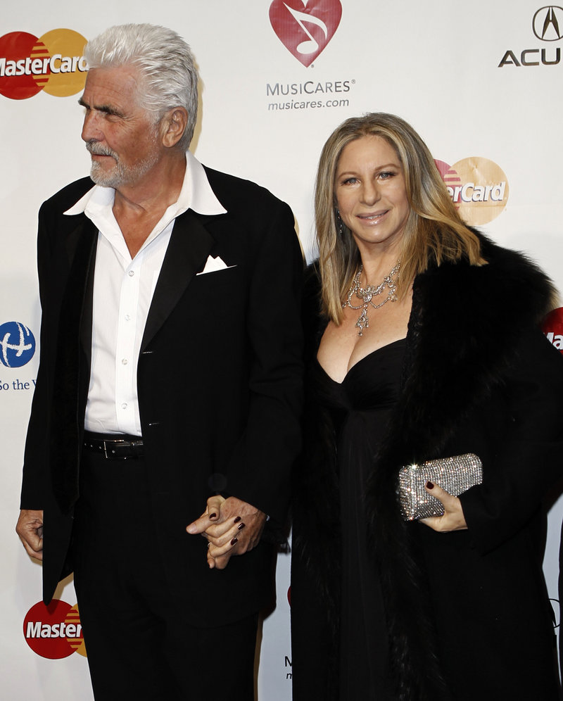 Barbra Streisand and her husband, James Brolin, arrive at the MusiCares Person of the Year gala in her honor Friday.