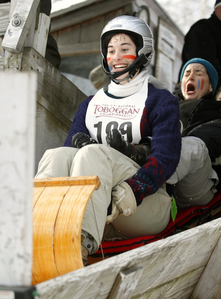 Megan Smeaton, left, and Eugenie Samson, students at McGill University in Montreal, brace themselves for their first run.