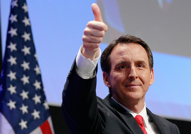 "Former Minnesota Gov. Tim Pawlenty gives thumbs up after speaking at the Conservative Political Action Conference. ""We need to restore the American dream by restoring American common sense,"" he said."