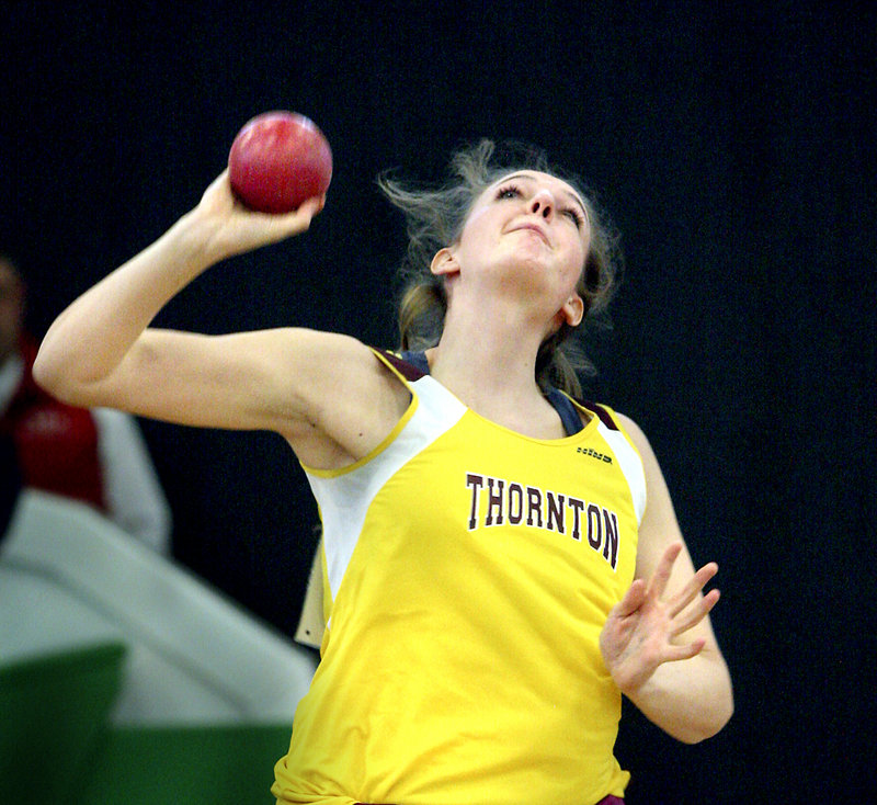 Abigail Huntress of Thornton Academy captured the senior shot put in 36 feet, 5.25 inches.