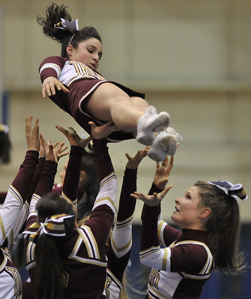 Thornton Academy may be on the way up among the Class A cheerleadering competitors.