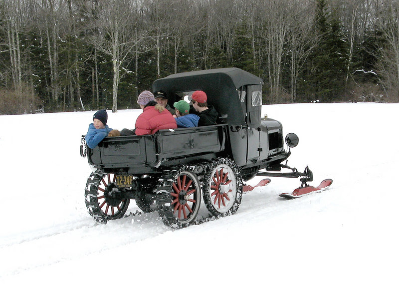 This Model T Snowmobile will be on display Saturday and Sunday at the Owls Head Transportation Museum.