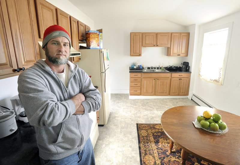 John Patriquin/Staff Photographer Don Ruiz, 45, his wife and their 8-year-old son spent three weeks in Portland's shelter for homeless families before welfare assistance helped him move into an apartment.